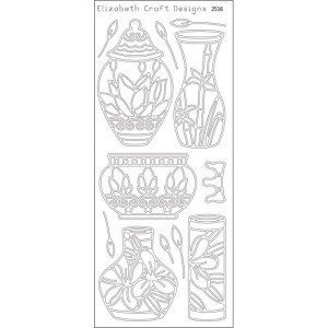 Asian Vases Peel-Off Stickers – Silver
