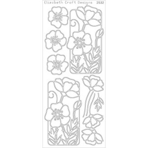 Flower Poppy Peel-Off Stickers – Silver