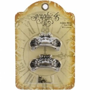 Staples Ornate Metal Door Pulls 2/Pkg – Antique Brass W/4 Brads