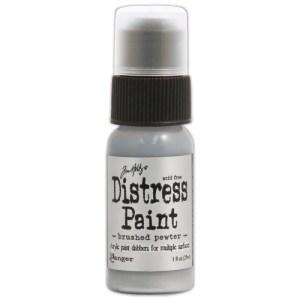 Tim Holtz Distress Paint 1oz Bottle – Brushed Pewter