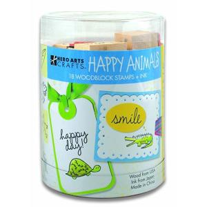 Hero Arts Ink 'n' Stamp Set, Happy Animals