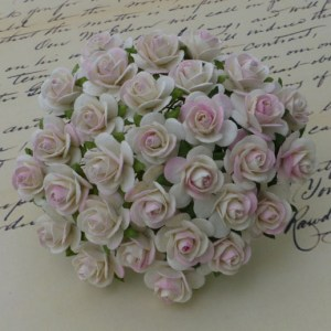 Wild Orchid Crafts 2-Tone Ivory/Pale Pink Mulberry Paper Open Roses