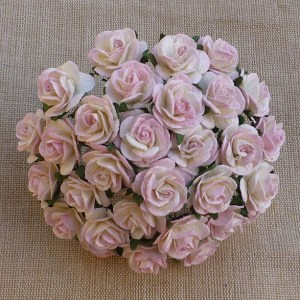 Wild Orchid Crafts 2-Tone Baby Pink/Ivory Mulberry Paper Open Roses
