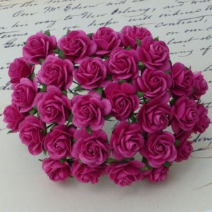 Wild Orchid Crafts Deep Pink Mulberry Paper Open Roses