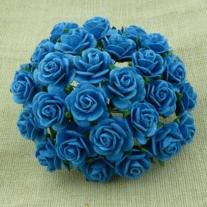 Wild Orchid Crafts Turquoise Mulberry Paper Open Roses