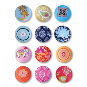 Sizzix Embellishments – Moroccan Fabric Buttons, 12 Pack