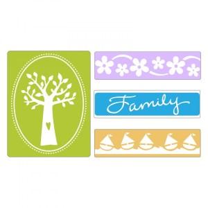 Sizzix Textured Impressions Embossing Folders 4PK – Family Tree Set