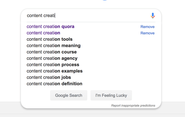 Google suggestion for content creation