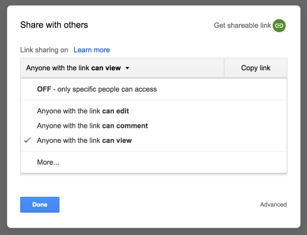 Google docs for content creation