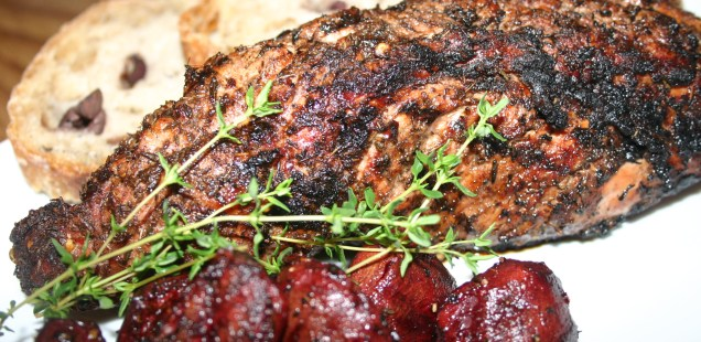 Pecan Smoked Jerk Pork with Grill Roasted Beets