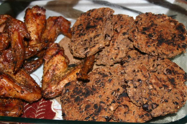 Wings & Black Bean Burgers