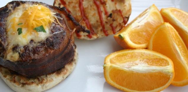 Bacon, Breakfast Sausage & Egg Burger. #BreakfastOnTheGrill
