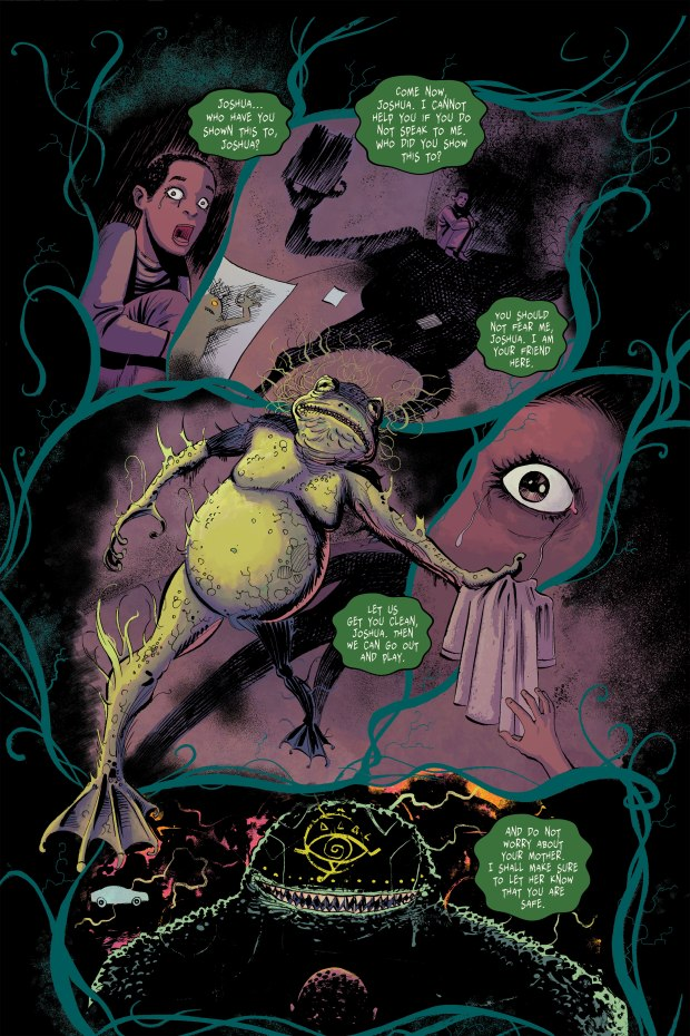 Frogman menaces a child in Gray Cells comic book