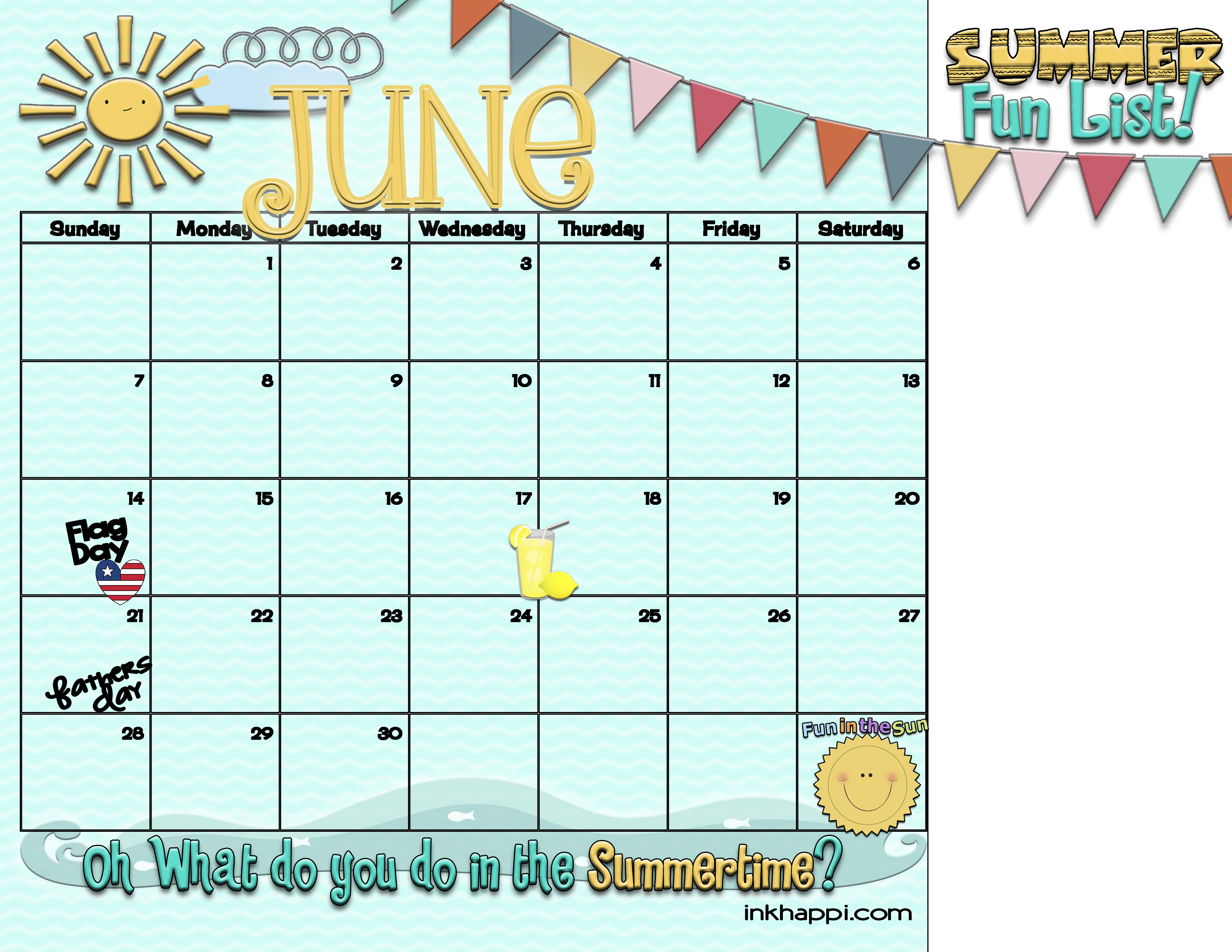 Summertime Activities And Free Planning Calendars