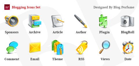 Set de iconos para bloggers