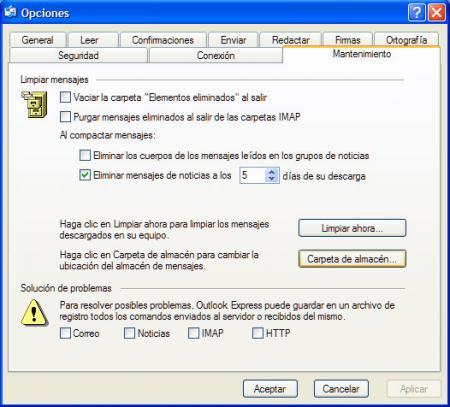 Carpeta almacen Outlook Express