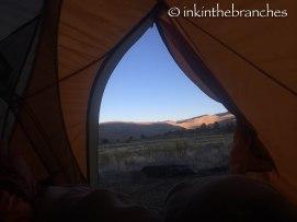 Sunrise from inside tent