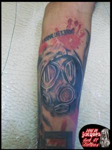 Trash Polka Gas Mask Tattoo