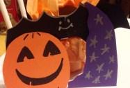 Halloween Candy Catcher: pumpkin front, bat, sorcerer hat.