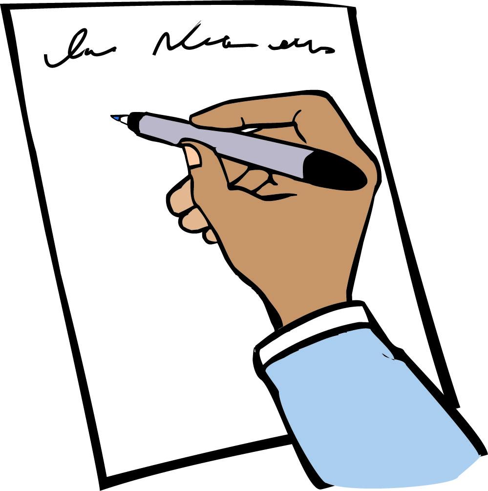 Zeichnung: Hand hält einen Stift und schreibt auf ein Blatt Papier