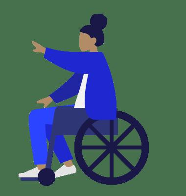 Frau im Rollstuhl streckt einen Arm aus, schlichte Grafik