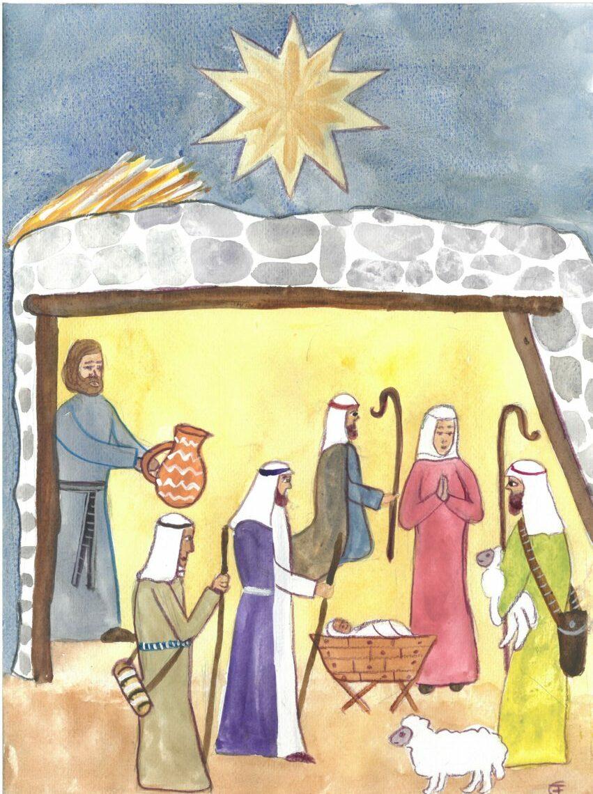 Einfache Filzstiftzeichnung: Stall aus Bruchstein, darüber ein Stern. Dunkle Nacht. Im Stall ist es hell. Hirten mit Hirtenstab und Schafen. Das gewindelte Kind in der Krippe. MAria mit gefalteten Händen steht rechts daneben. Von links bringt Josef einen Krug.