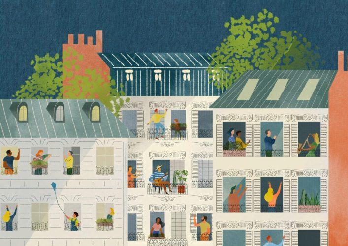 Zeichnung dreier Häuser. In jedem Fenster ist ein Mensch zu sehen. Alle Menschen sind unterschiedlich gekleidet, spielen, musizieren, ... .
