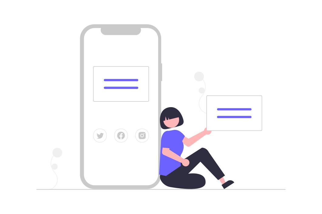 Grafik: Frau lehnt an übergroßem Smartphone und hält ein großes Plakat mit 2 stilisierten Zeilen in der Hand. Die Frau schaut uns an.