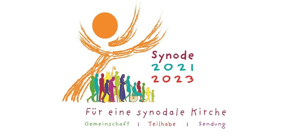 Logo der Synode mit verschiedenen Menschen unter einer Sonne