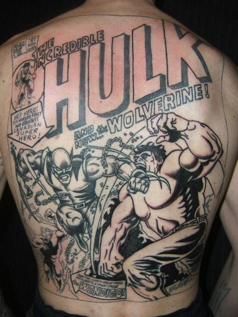 Hulk vs. Wolverine tattoo by Shawn from Strange City