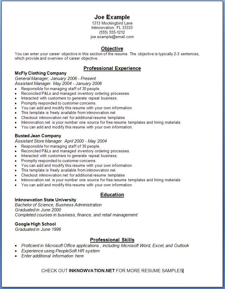 free resume sample online - York University Resume Sample