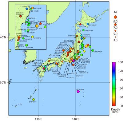 平成の日本の地震発生状況