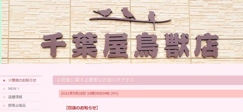 2021年5月28日に千葉屋鳥獣店のHPで6月30日に閉店することを発表