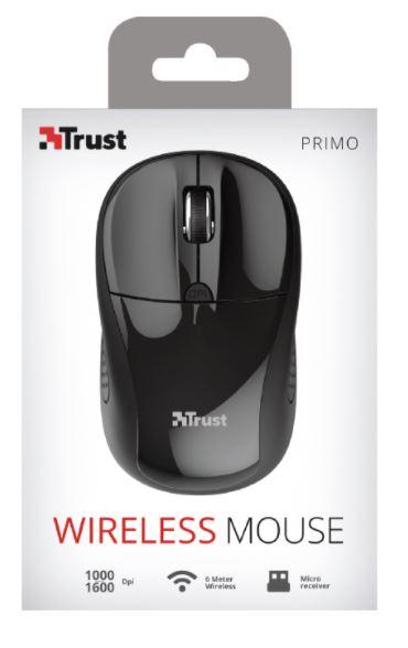 Mouse Medium Wireless Ottico USB 2.0 Primo Trust col.nero