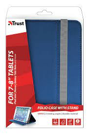 "Custodia/stand in pelle sintetica 7-8"" universale Trust col.blu"