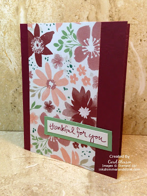 Photo of Thankful for You card with Stampin' Up! Blooms and Bliss paper and Sheltering Tree greeting