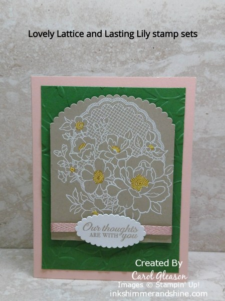 Petal Pink Lovely Lattice sympathy card with white embossing.