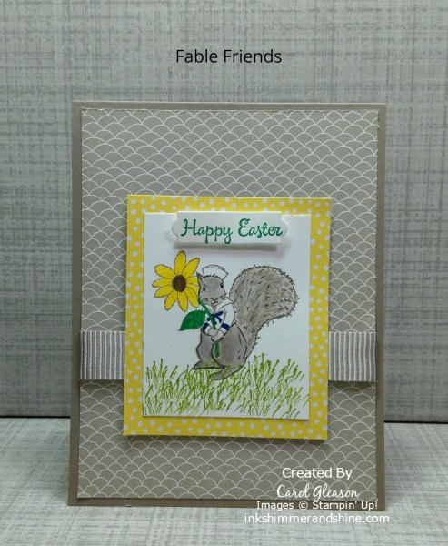 Easter card with Fable Friends Squirrel holding a bright yellow flower.
