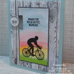 Enjoy Life bicycle card using sponge daubers, Circle Tab punch, and multiple ink colors.