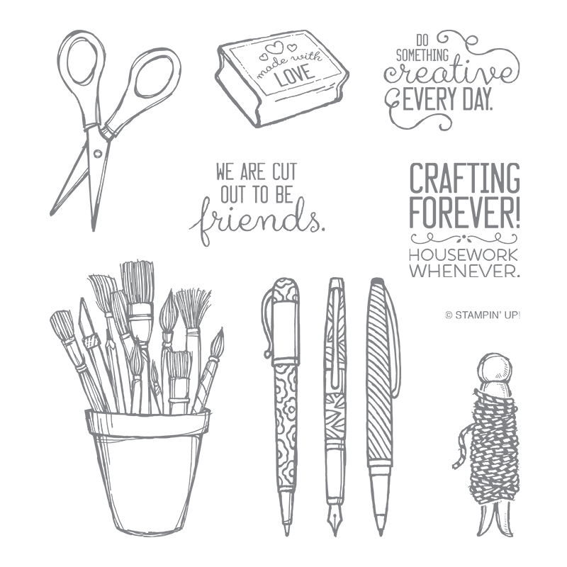 Images in the Crafting Forever stamp set include scissors, pens, paint brushes and Baker's Twine. Greetings include We are Cut Out to Be Friends, Crafting Forever! Housework Whenever, and Do Something Creative Every Day.