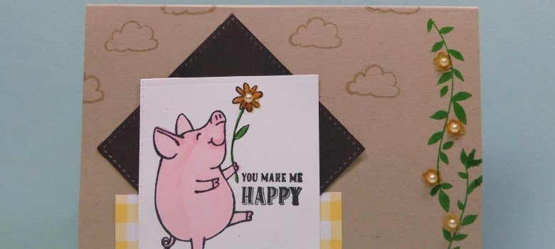 This Little Piggy card with sentiment You Make Me Happy