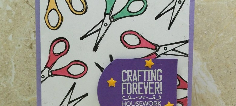 Scissors background created with the Crafting Forever stamp set by Stampin' Up!. Color the