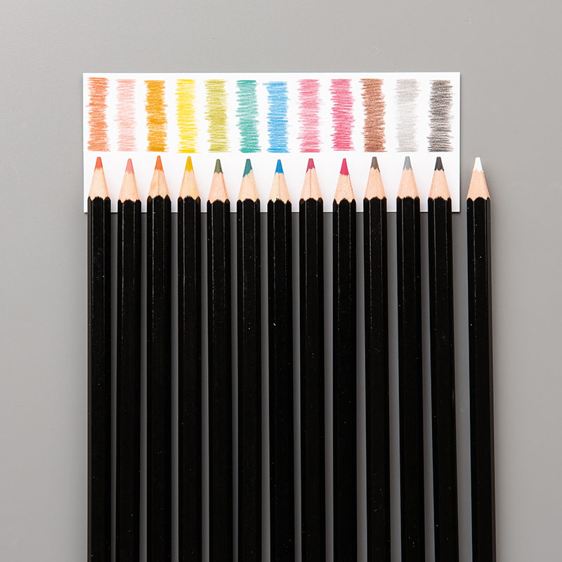 13 smooth colored pencils in Stampin' Up! colors: Basic Black, Basic Gray, Bermuda Bay, Calypso Coral, Daffodil Delight, Early Espresso, Melon Mambo, Old Olive, Pacific Point, Pumpkin Pie, Real Red, Rich Razzleberry, Whisper White. They're perfect for watercoloring stamped images!