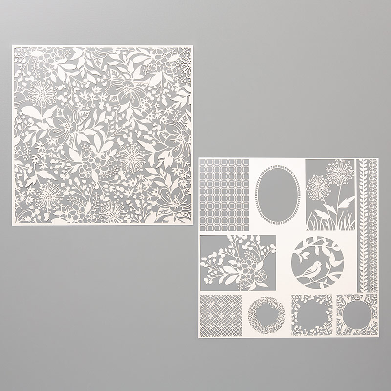 Beautiful patterns in the Shimmer Detailed Laser-cut specialty paper are shown.