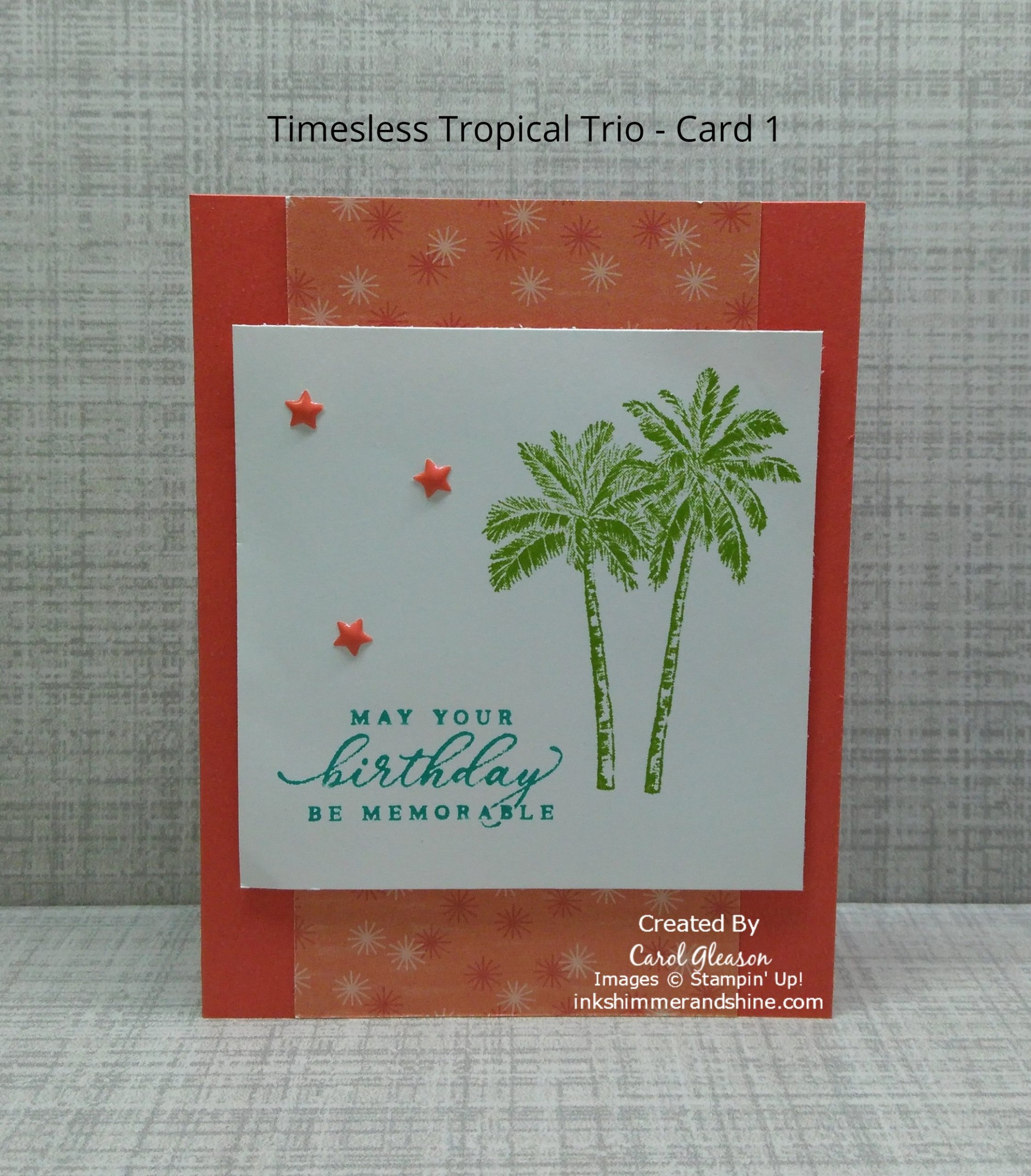 Stamped palm trees and birthday greeting from the Stampin' Up! Timeless Tropical stamp set
