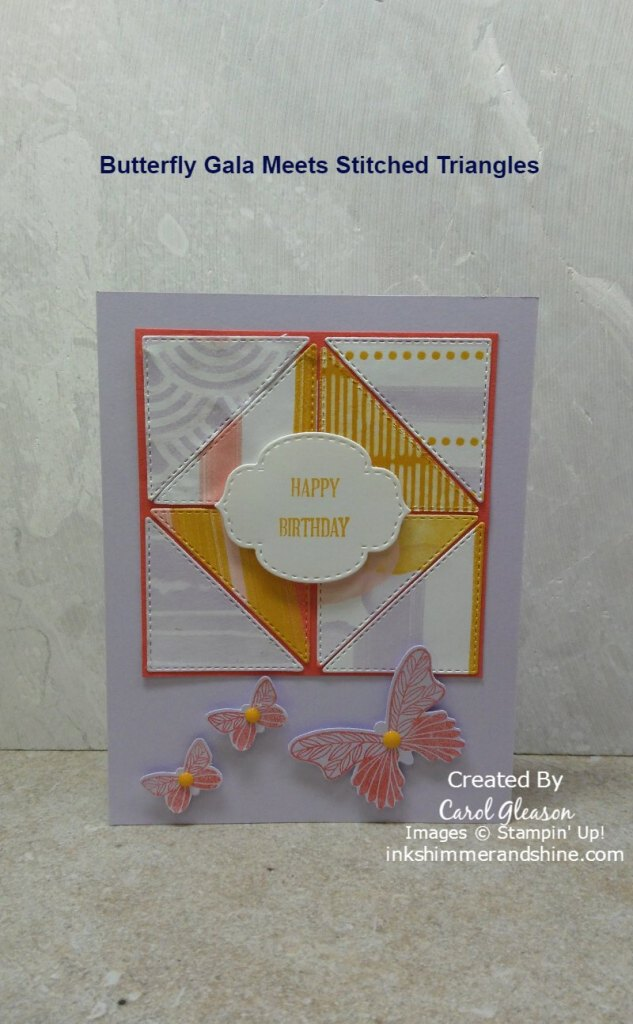 Stitched Triangles dies are used to die cut small right triangles from the Playing With Patterns Designer Series Paper. In addition, coordinating Stitched So Sweetly Dies are used to die cut the sentiment from the Itty Bitty Birthdays stamp set.