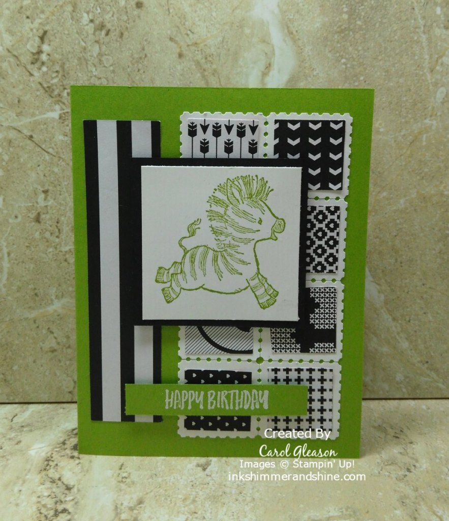 Zany Zebra birthday card. Use brightly colored card stock, such as Granny Apple Green, with coordinating ink for your zebras! Great use of black and white paper scraps for the background.