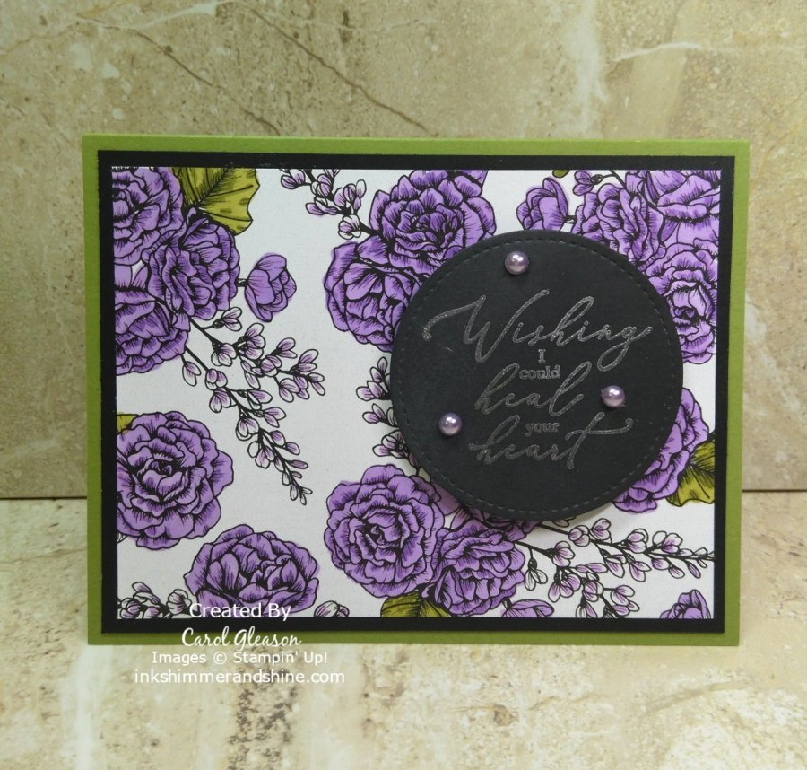 The Color of True Love for this sympathy card is Highland Heather. Simply color the True Love paper with Light and Dark Highland Heather and Old Olive Stampin' Blends for a soft comforting background.