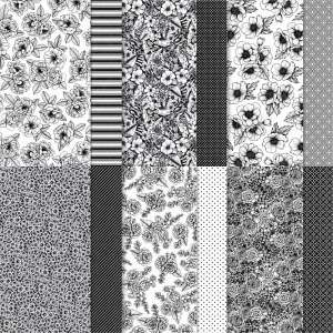 True Love Designer Series Paper features black and white florals, stripes, polka dots and other patterns. It is available in the Stampin' Up! January - June 2021 Mini Catalog.
