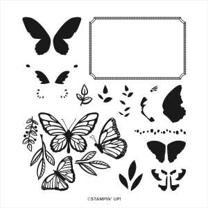 Floating & Fluttering two-step stamp set from Stampin' Up! Features several butterfly images and leaves. Easily stamp and color them with the coordinating layer stamps or Stampin' Blends.